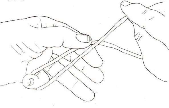 Step 3: Hold both lines lightly with the same thumb and forefinger pull the end out about 8 inches of line past the thumb.