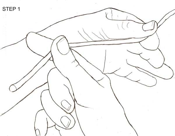 Step 1: First grasp the end of the line with your lead hand and pull it through the opposite thumb and forefinger.