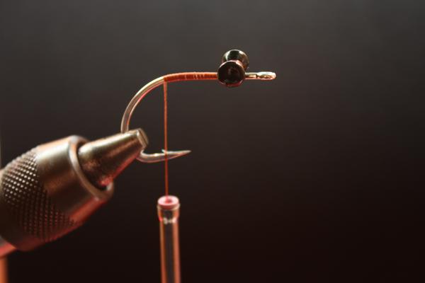 Step One: Tie in lead eyes securely one eye length behind hook eye.