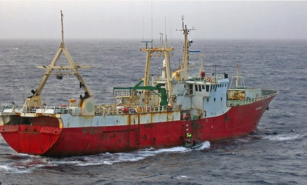 Caught in the act is this illegal fishing vessel. Several countries continue to defy laws, reason and the future of sustainable fisheries. NOAA photo