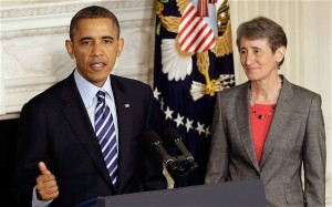 President Barack Obama nominated business executive Sally Jewell to lead his Interior Department. Jewell is the president and chief executive officer at Recreational Equipment, Inc.
