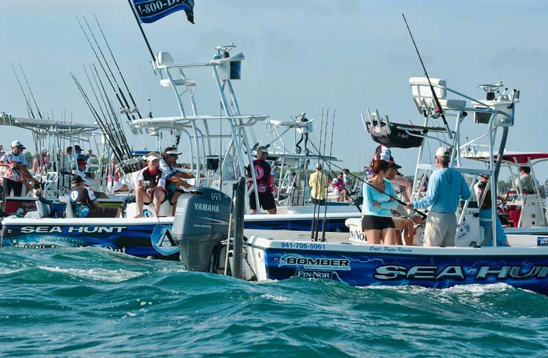 Conservation gaff and drag overwith along with kill tags for Boca grande tarpon fishing