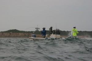18' Parker handling the big water off Montauk Point.