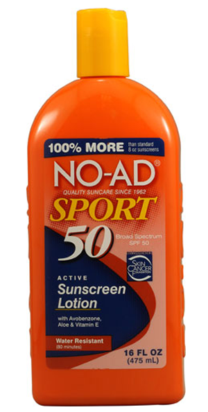 No-Ad Sunscreen means they don't advertise so there is a big savings. We've found this to be a decent sunscreen when out on the water. Be sure to wash your hands after applying any sunscreen product. It's an offensive smell to fish.