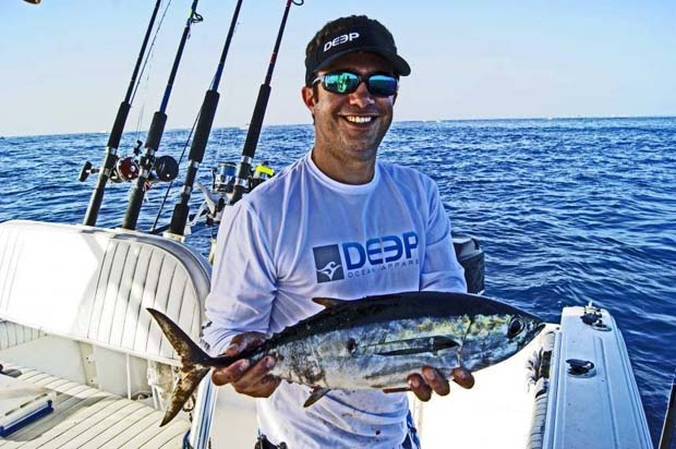 The author with a typical southeast Florida black fin tuna.