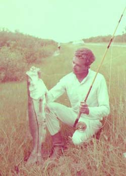 "Fifty years ago it was different. Legend Norman Duncan catches another monster snook. This one on Florida State road 92, which leads to Marco Island - just off the ""Trail."" Photo courtesy of Norman Duncan."