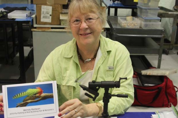 Wendy Radwan began fly casting 10 years ago, then fly fishing and about five yeas ago she became fascinated with flies and began tying. She's from central Florida. Radwan is the president of a local Reel Women club ith about 20 members that try to meet once a month.