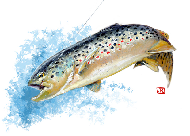 Friday fish frame jeff kennedy watercolor master fly for Fish out of water watercolor