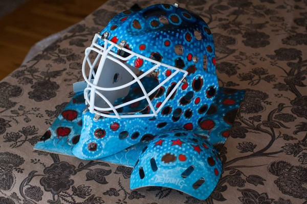 """""""...And so was born the Patriotic Brown Trout Hockey Helmet"""""""