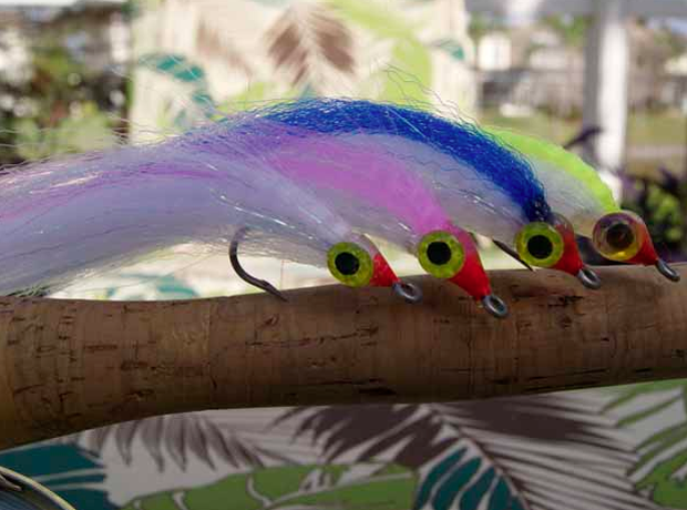 These flies tied by Grant Gisondo are specific for kings. They're 6- to 8-inches long. Note the large eye sizes.