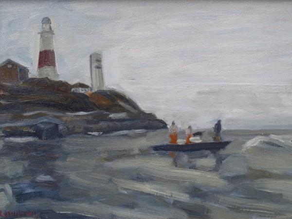 """Under Montauk Light 10"""" x 8""""  Oil on canvas board"""