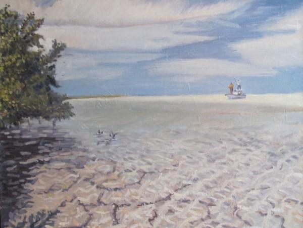 """Bones under the Mangroves 18"""" x 14""""  Oil on panel"""
