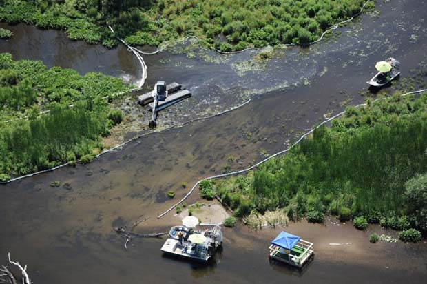 Enbridge Pipeline Oil Spill in 2010 in Marshall, Michigan. Spill: 819,000 gallons of crude oil. Photo by www.3rinc.com