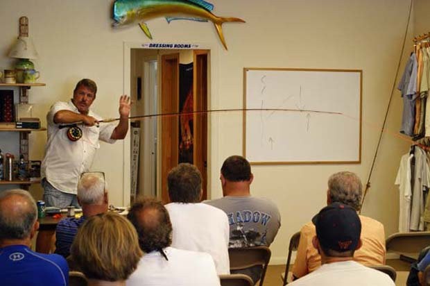 Capt. Scott Hamilton showing anglers how to manage a spinner once it's hooked. Grant Gisondo photo.