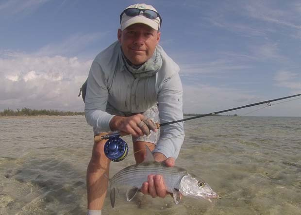 Tom Karrow on Andros Island, Bahamas using good local information helps his bone fishing experience. Karrow photo.