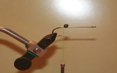 1. Using a Mustad 34011 long shank hook (or equal), tie in green flat wax thread starting at the bend and wrap to the position show - adding extra small lead dumbell eyes.