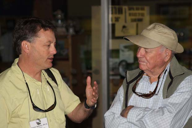 Aaron Adams, BTT's Director of Operations goes over some detail with legend Lefty Kreh at last symposium. Clement photo.