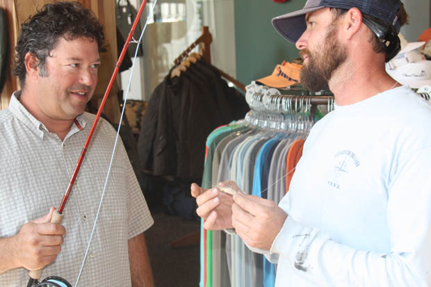 Although it looks like Jamie Giello, R&GTCo salesman, just snookered Jason Pelletier, not so. Jason is a savvy Savannah born and bred guy with a lot of fly fishing under his belt. Jamie and Jason are buds from way back.