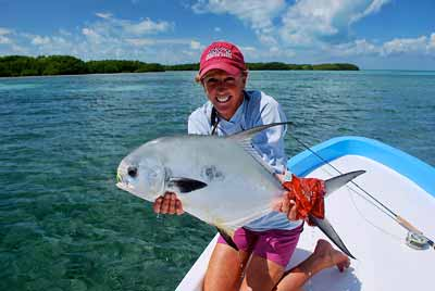 A nice permit day in Belize; especially when it's your birthday. El Pescador Lodge photo.