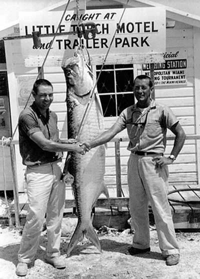 George (R) with client and 143-pound record tarpon on a fly. Photo believed circa late1940s.