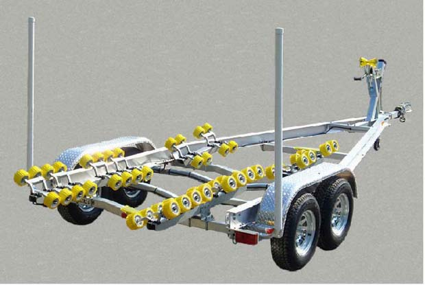 A roller trailerlike this model from Road King may be the only way to launch a boat a shallow ramp. Photo Road King Trailers.