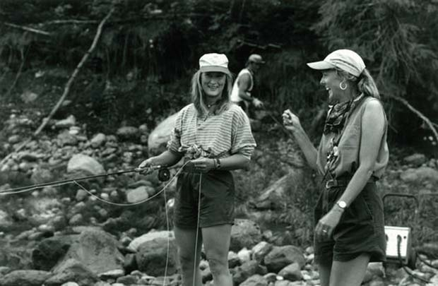 "Meryl Streep's role in ""The River Wild"" required fly-fishing experience, so production called in Lori-Ann to show her the ropes. From the looks of this photo, she had a good time learning! Lori-Ann Murphy photo."