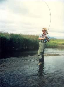 Margot fly fishing in Alaska, 1997.