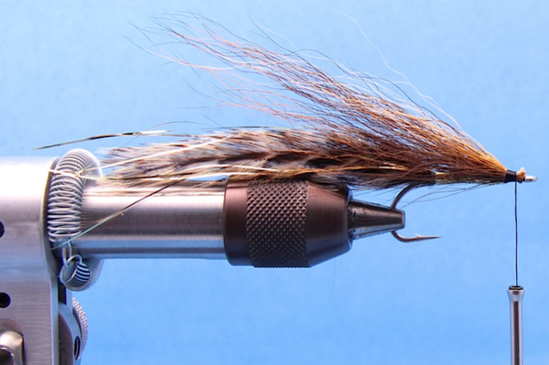 Step 5: Directly in front of the Flashabou body tie in a pencil size bunch of dark brown bucktail, the section of hair should be slightly shorter than the tail, so about 3 1/2 inches in length.  Position the bundle of hair so that it is on the near side of the hook, and secure with several tight wraps.