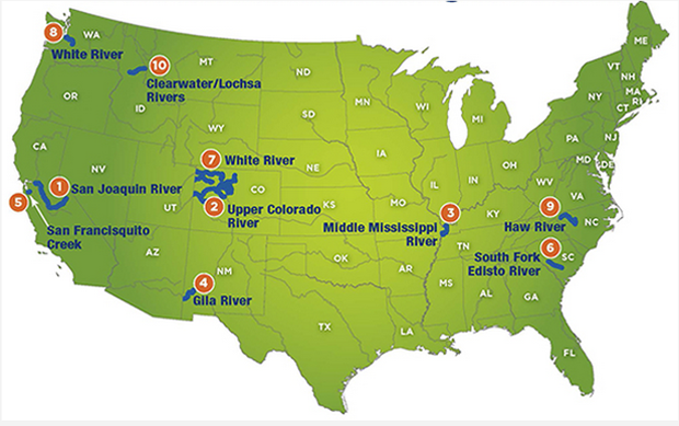 2014s most abused rivers. American Rivers map.