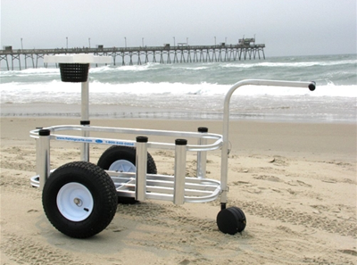 A Surf Caddy, like this one, makes life a 'beach'. The pictured model can hold 8 eight rods, a cooler, tackle box, bait box and everything you'd need plus some.  Surf caddies vary in quality and price $45 to $300.