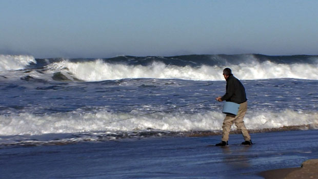 Switch casting out west. High surf conditions.