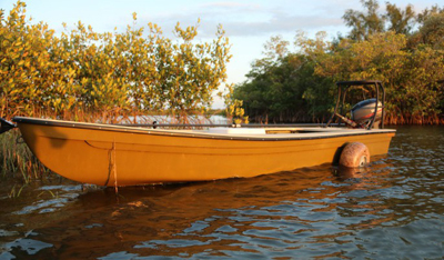 The wheels allow you to get in where only canoes, kayaks and birds fish. No ramp required. The wheels come off.