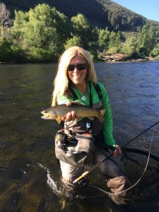 """Brown Trout - On a Women's Fishing Weekend on the Provo RIver in Utah - Photo taken by Tracy Moore """"Montana Fly Girl"""""""