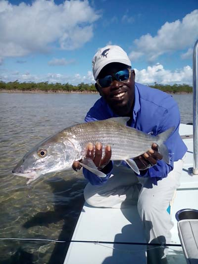 Meko Glinton has international recognition as the go to guy when it comes to bone fishing in the Bahamas. His teaching, coaching and fly tying skills keep in demand year 'round. Image credit unknown.