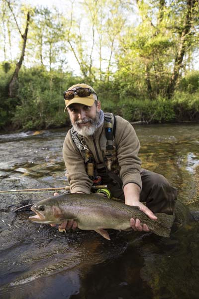 A Bill Oyster bamboo fly rod working the waters near home Angler is Hollis Bennett. AMFF image.
