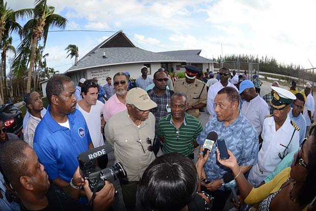 Prime Minister Perry Christie addresses the media in Stella Maris. Photo: Peter Ramsay
