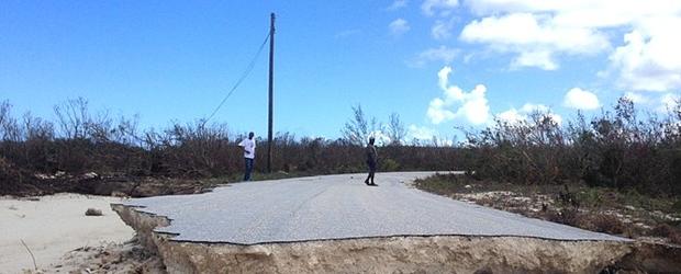 Tribune 242 image of road washed out on Crooked Island Bahamas.
