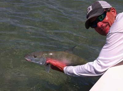 Capt. Duane Baker with a safe release of a Florida Keys bonefish. BTT image.