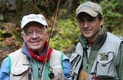 Famous angler and bamboo rod maker Bill Oyster is President Carter's go-to guide in the Blue Ridge trout waters of North Georgia. Oyster image.