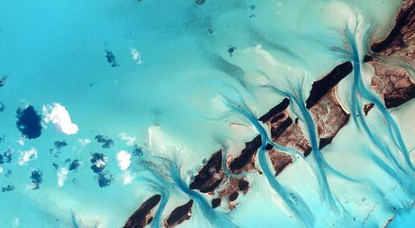 Bahamas flats and channels. By NASA/Scott Kelly.