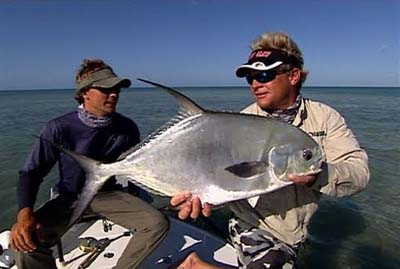 Capt. Blair Wiggins travels to Key West Florida to fish for permit on the fly with Capt. Will Benson. Permit caught in the Marquesas Keys. Benson Image.
