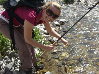 Is tenkara fly fishing hard to learn? Guadalupe is from Argentina. She's never fly fished before. In an hour, she landed three trout and missed two. Yes, it is easy to learn how to Tenkara fly fish. Image from Jason Klass' Tenkara Talk Blog tenkaratalk.com.