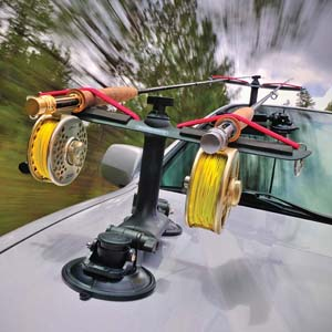 In addition to the referrenced 'rod caddy' shown there is onne that suspends from the roof interior of SUV's as well. Mike Houska image for Orvis.