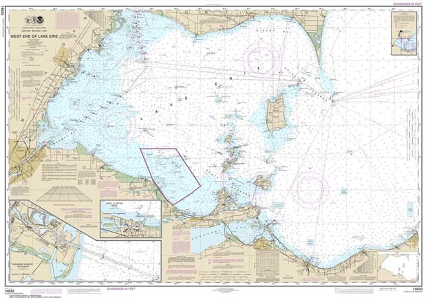 Depths Navigation Chart For Lake Erie