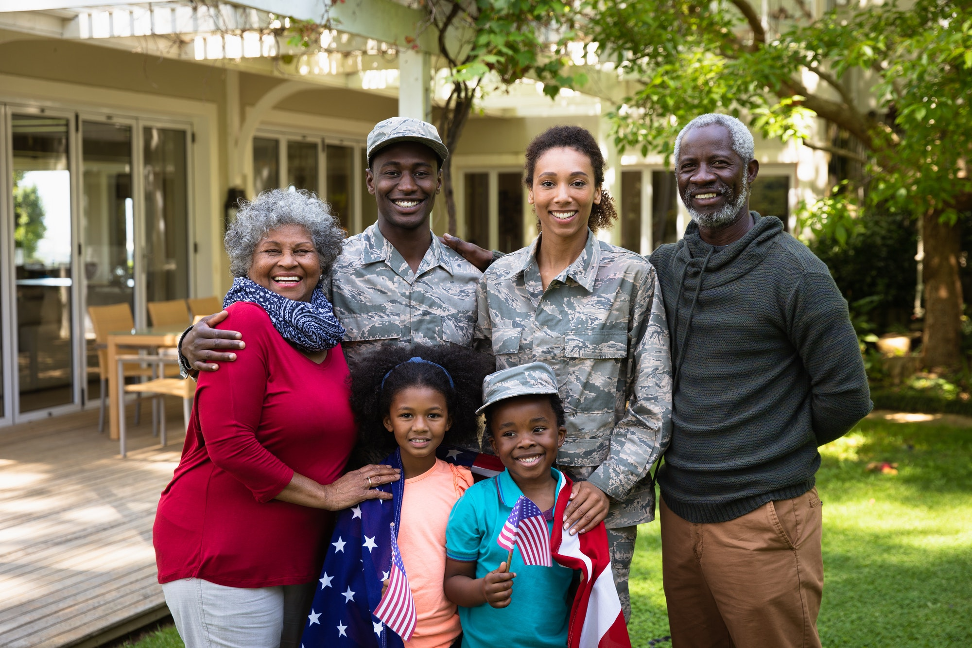 Portrait of soldier with family