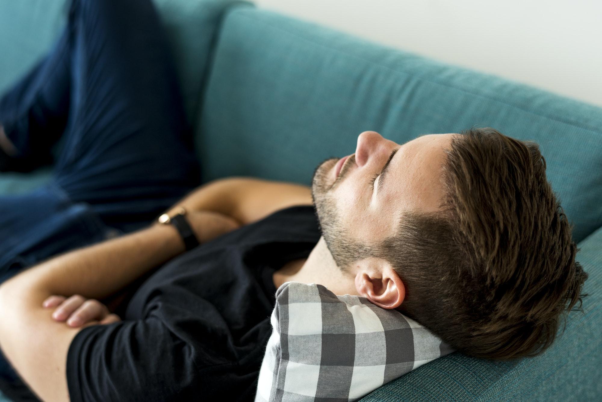 Man sleeping on the sofa