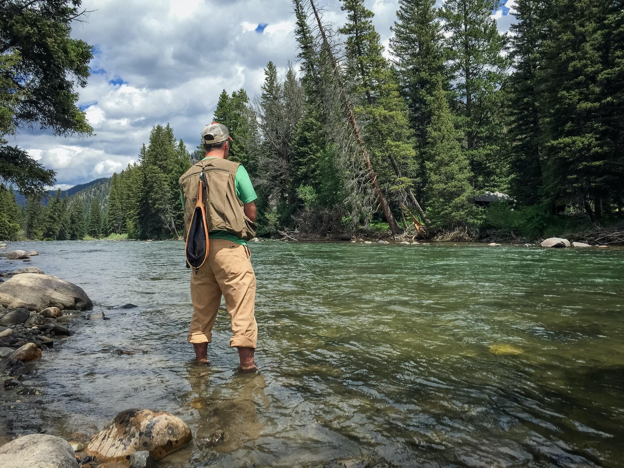 Flyfishing the Gallatin River in Montana.