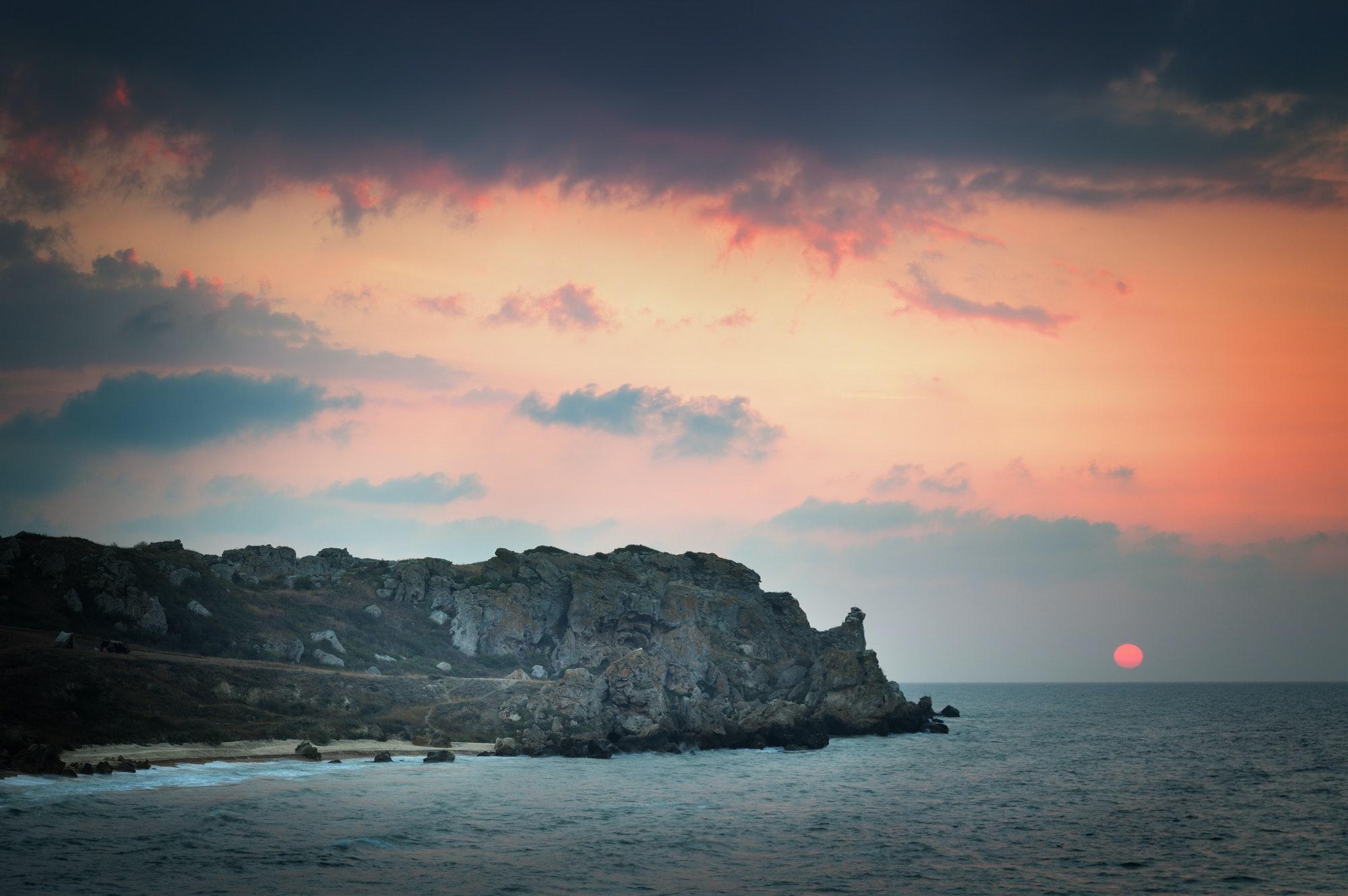 A day at fly fishing the seaeashore at sunset